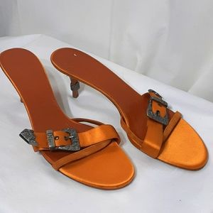 Christian Dior Orange satin heels